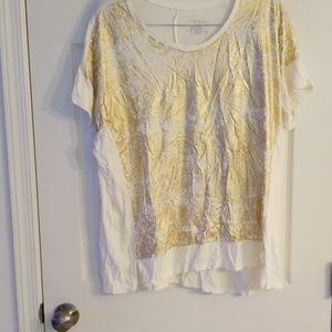 Lane Bryant cream & gold tshirt 18/20